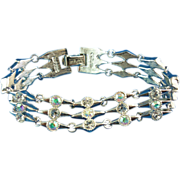 Retro Napier Elongated Diamond Shape Linked Rhinestone Bracelet