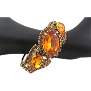 Stunning Amber Oval Cut Glass Juliana Style Clamper Bracelet