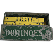 Fantastic Vintage Bakelite Dominoes Set with Metal Box