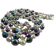 Gorgeous Carnival Glass AB and Faux Baroque Pearl Triple Strand Necklace