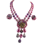 Fabulous Pink and Purple Chunky Bead Coro Necklace and Earrings