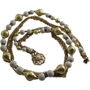 Beautiful Vintage Goldtone with White beading Rhinestones Five Strand Necklace