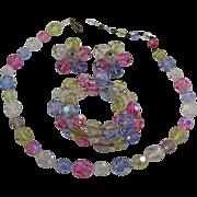 Pretty Fruit Salad Aurora Borealis Crystal Neckace, Bracelet and Earrings