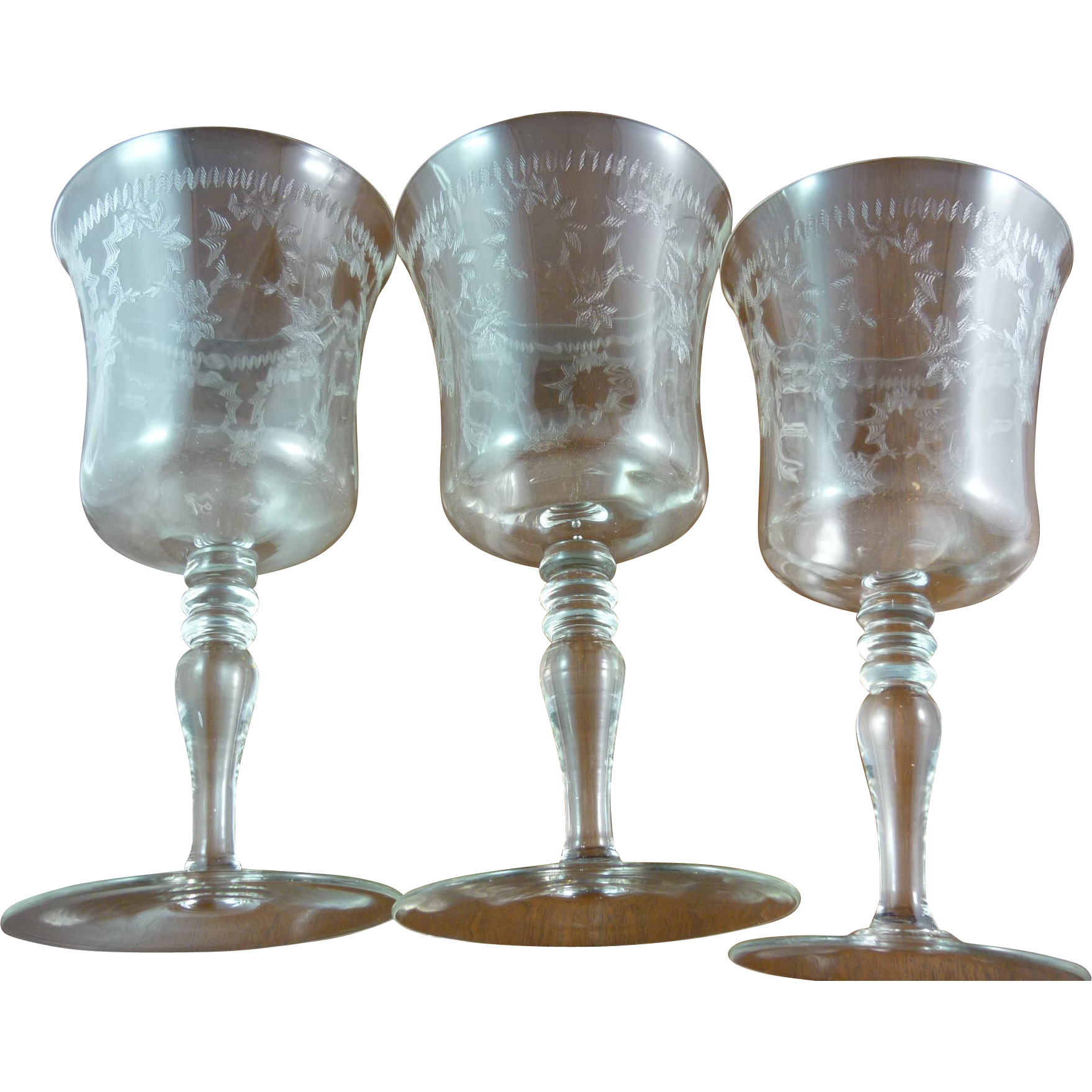 antique crystal water goblets - Water Goblets