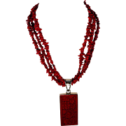 Large Red Cinnabar and Sterling Pendant with Red Branch Coral Necklace