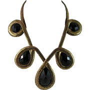 Fashion Runway Statement Black Glass Faceted Necklace - Wow Factor