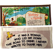 Vintage Australian Souvenir Linen Tea Towels - Waltzing Matilda and A Woman...
