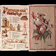 Vintage Australian Souvenir Linen Tea Towels - Australian Ocker Alphabet and Koala Bear