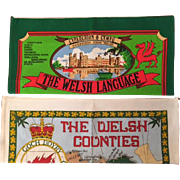 Vintage Welsh Souvenir Linen Tea Towels - The Welsh Counties and The Welsh Language