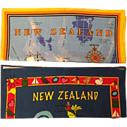 Two Whimsical Vintage New Zealand Souvenir 100% Cotton Tea Towels