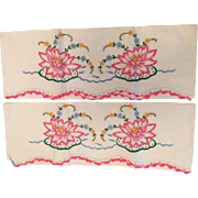 Lovely Pink Pond Lily Vintage Hand Embroidered Pillowcases