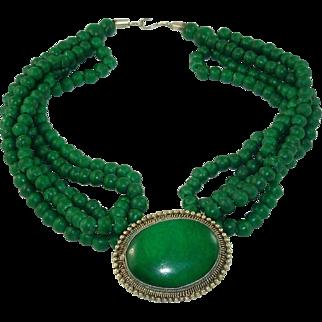 Stunning Forest Green Malachite Pendant Five Strand Beaded Choker Necklace