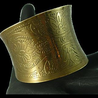 Shiny Bright Wide Brass Cuff Bracelet