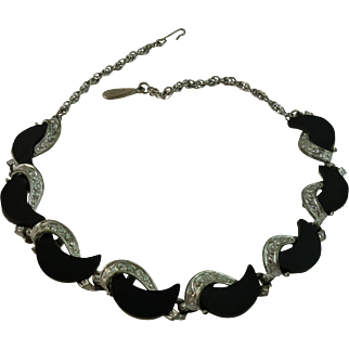 Black Thermoset and Silvertone Metal ART Necklace