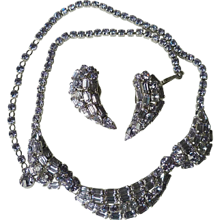 Gorgeous Sherman Amethyst Rhinestone Necklace and Earrings - Bookpiece!