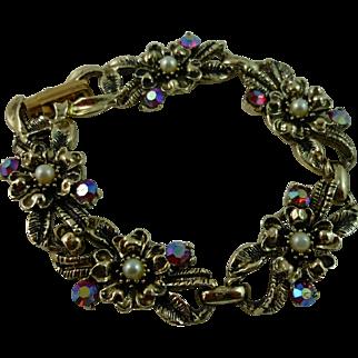 Darling Ruby Aurora Borealis and Faux Pearl Bracelet