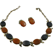Nice Smoky Gray and Caramel Thermoset Necklace and Earring Set