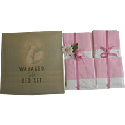 Pink Vintage Wabasso Gift Set Size No. 2 Double Sheet Set NOS