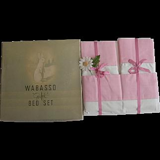 Pink Vintage Wabasso Gift Set Size No. 2 Double Sheet Set NOS