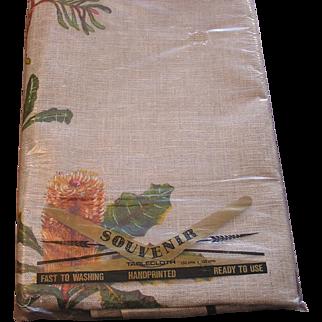 NOS Pure Linen Australia Souvenir Table Cloth
