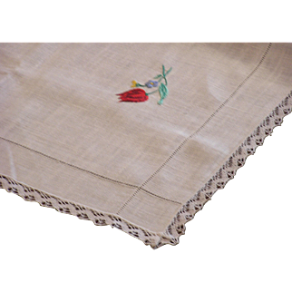 Sweet Vintage Linen and Embroidered Roses Table Topper