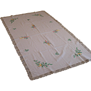 Fabulous Vintage Linen and Embroidered Christmas Table Topper