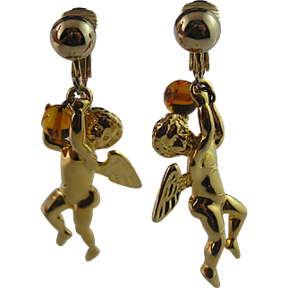 Sweet Little Cherub Gold Tone Earrnings
