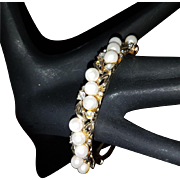 Pretty Faux Pearl and Clear Rhinestone Lisner Bracelet