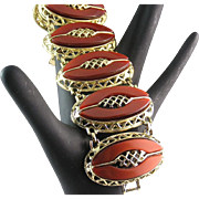 Fabulous Bronze Thermoset Elaborate Filigree Bracelet