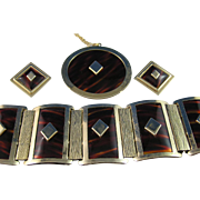 Leru Faux Tortiseshell Panel Bracelet, Necklace and Earrings