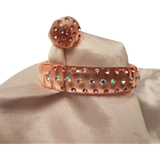 Fabulously Funky Translucent Pale Pink Lucite Bangle and Ring Duo