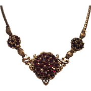 Exquisite faux bohemian style garnet style glass  rhinestone necklace