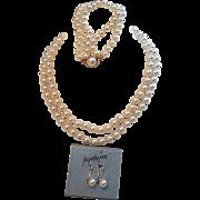 Vintage 1990's Jaqueline Ferrar Faux Pearl Suite - Necklace, Bracelet and Earrings