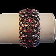 Gorgeous Shimmering Ruby Red Aurora Borealis Joan Rivers Stretch Bracelet