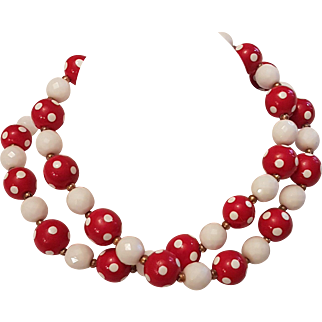 Swinging in the Red Joan Rivers Red & White Polka Dot Glass Bead Necklace