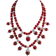 Fantastic Cloisonne Inspired Red and White Glass Bead Necklace - Japan