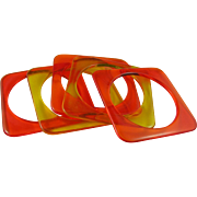 Five Fab Orange and Yellow Square Clear Lucite Spacer Bracelets