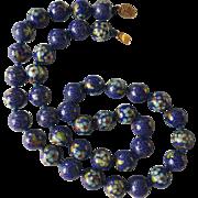 Vivid Royal Blue Chinese Cloisonne Necklace