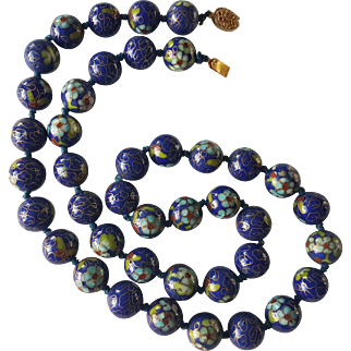Vivid Royal Blue Chinese Cloisonne Necklace