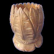 Old Wood Carved Detailed Toothpick Holder
