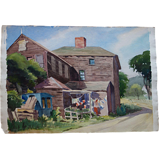 William McIntyre Jewell Watercolor Great Big Farm w Wash on the Line Scene