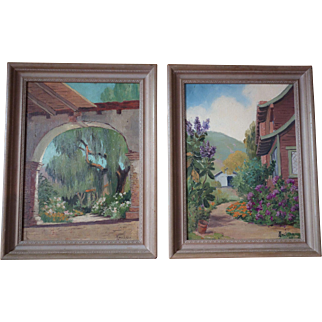 Jackson Martin Jacob Pair of Paintings Plein Aire California Listed
