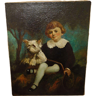 Antique painting Boy with Dog Playing Gorgeous 26 x 32