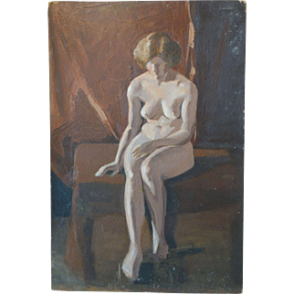 1920s Nude lady Oil on Board Verso Signed Osterhaut