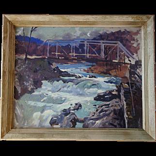 Robert Atwood Painting 2 Sided w Bridge