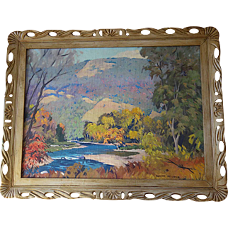 Big Beautiful Robert Atwood Mountain Painting 24 x 32 in Period Frame