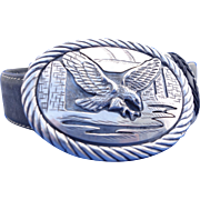 Vintage Signed Tom Bahe Navajo Sterling Eagle Buckle Native American