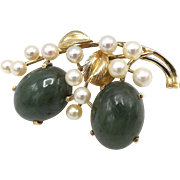 Vintage 14kt Gold, Jadeite, Akoya Pearl Brooch by Ming's of Hawaii