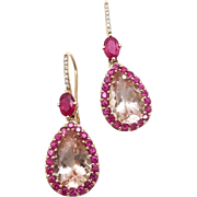 14kt Rose Gold, Morganite, Ruby and Diamond Earrings