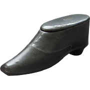 Victorian Shoe Shaped Snuff Box in Papier Mache